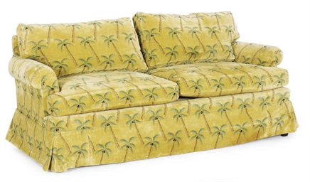 AN UPHOLSTERED SOFA,