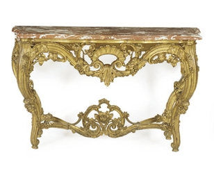 A FRENCH GILTWOOD AND MARBLE T