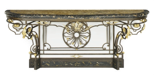 A WROUGHT IRON, PARCEL-GILT AN