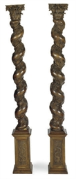 A PAIR OF FRUITWOOD SOLOMONIC