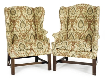 A PAIR OF MAHOGANY AND UPHOLST
