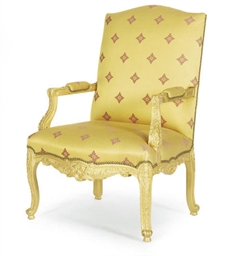 A GILTWOOD AND UPHOLSTERED ARM
