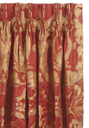FOUR SETS OF RED AND GOLD SILK