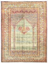 A SILK TABRIZ PRAYER RUG