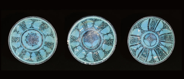 THREE DEEP RAQQA WARE TURQUOIS