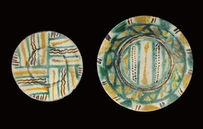 TWO NISHAPUR SPLASHWARE PLATES