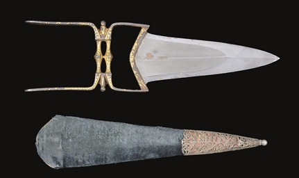 A DAMASCENED MUGHAL KATAR WITH