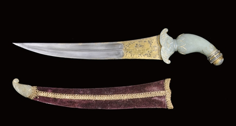 A JADE HILTED DAGGER WITH DAMA