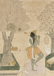 A SKETCH OF KRISHNA FLUTING, R