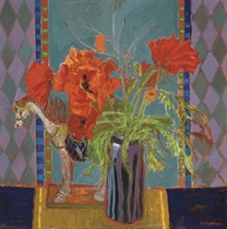 Poppies and Ceramic Horse