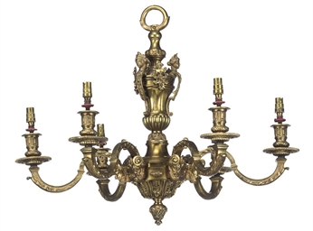 A PAIR OF GILT-BRONZE SIX-LIGH