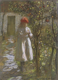 A young girl in an orchard; an