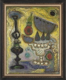 Bowl of fruit with lamp