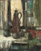 A coffee pot, pears and a wine glass on a draped table