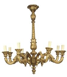 AN ITALIAN GILTWOOD EIGHT-LIGH