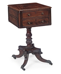 A GEORGE IV MAHOGANY WORK TABL