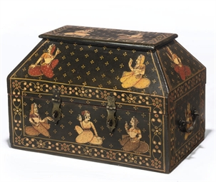 AN INDIAN PAINTED CASKET