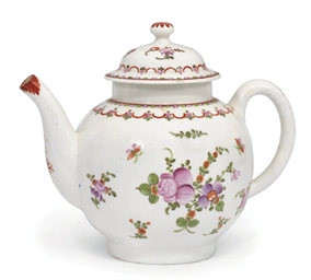 A LOWESTOFT GLOBULAR TEAPOT AN