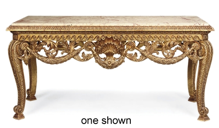 A PAIR OF GILTWOOD TABLES