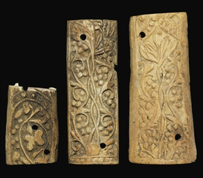 THREE UMAYYAD CARVED BONE PANE