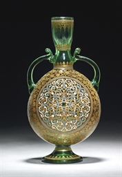 A BROCARD ENAMELLED GREEN GLAS