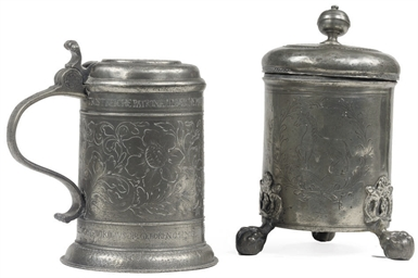 A GERMAN ENGRAVED PEWTER TANKA