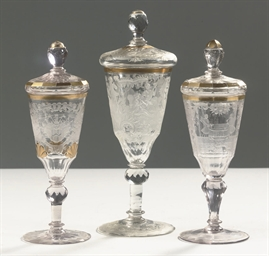 Three Silesian engraved gilt g