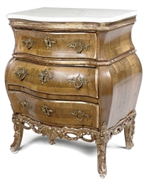 A DANISH PARCEL-GILT WALNUT BO