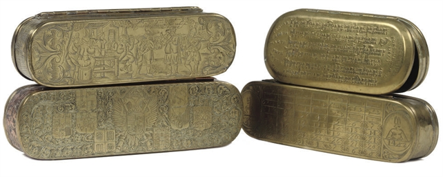 FOUR VARIOUS BRASS TOBACCO BOX