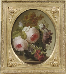 Pink roses, jasmine, a tulip a