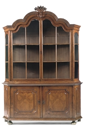 A DUTCH WALNUT DISPLAY CABINET