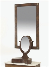 A DUTCH MAHOGANY TOILET MIRROR
