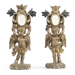 A PAIR OF ITALIAN GILT AND POL