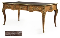A LOUIS XV ORMOLU-MOUNTED TULIPWOOD AND ROSEWOOD BUREAU PLAT