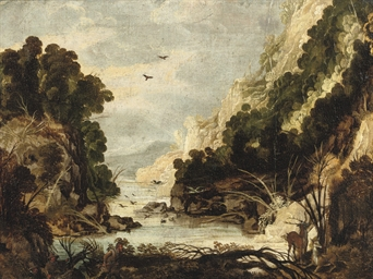 A rocky river landscape with h