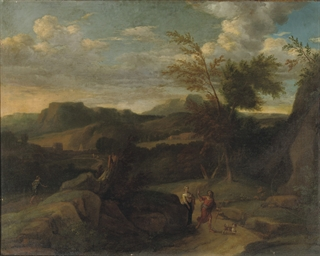 An Italiante landscape with tr