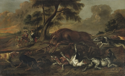 Hounds attacking a deer in a h