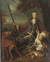 Portrait of a young gentleman, full-length, in a hunting dress with his hounds in a landscape
