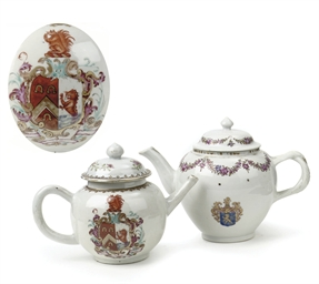 Two Chinese armorial teapots a