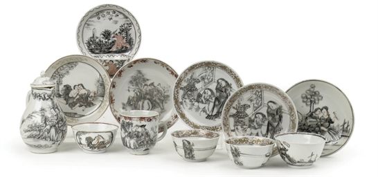 An assorted lot of Chinese encre-de-chine porcelain with amo...