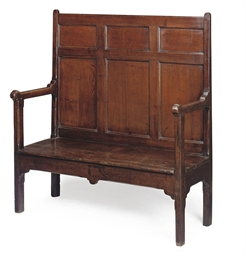 A GEORGE II OAK HIGH-BACK SETT