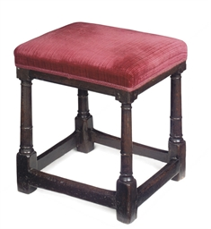 A QUEEN ANNE OAK STOOL