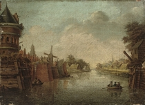 A Dutch canal side town with figures in a boat