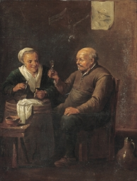Peasants drinking in an interi