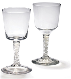 TWO OPAQUE-TWIST GOBLETS
