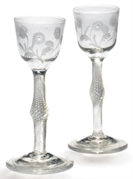 TWO ENGRAVED AIR-TWIST WINE-GL