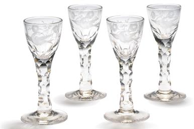 TEN FACET-STEMMED WINE-GLASSES