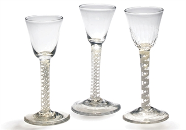 FIVE OPAQUE-TWIST WINE-GLASSES