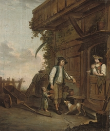 A peasant with his family by a