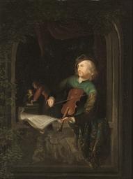 A fiddler at a casement